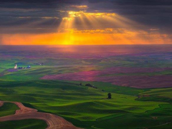 Sunrays From Steptoe Butte, Washington