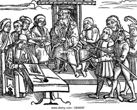 justice-courtroom-scenes-the-accused-is-brought-forward-woodcut-from-db86rf
